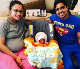 Proud parents ready to take their new baby home shortly after giving birth at Katy Birth Center.