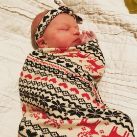 Sweet baby girl, swaddled and ready to go home after being born at Katy Birth Center.